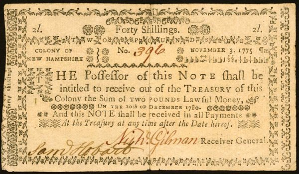 4016: New Hampshire , 40 Shillings    Nov. 3, 1775