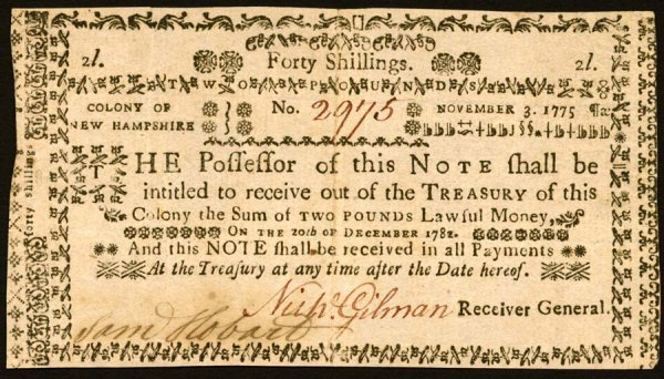 4017: New Hampshire , 40 Shillings    Nov. 3, 1775