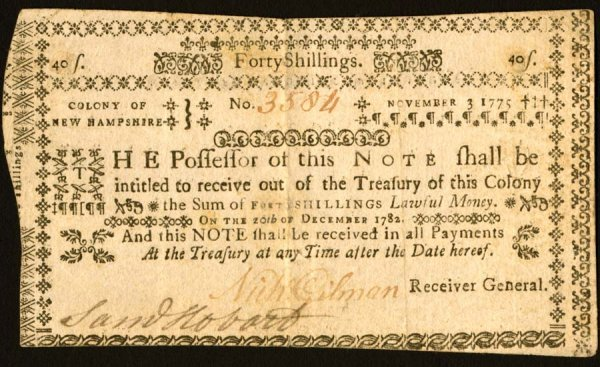 4018: New Hampshire , 40 Shillings    Nov. 3, 1775