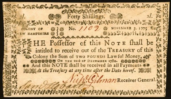 4019: New Hampshire , 40 Shillings    Nov. 3, 1775