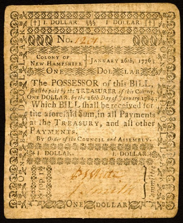 4020: New Hampshire , $1    Jan. 26, 1776