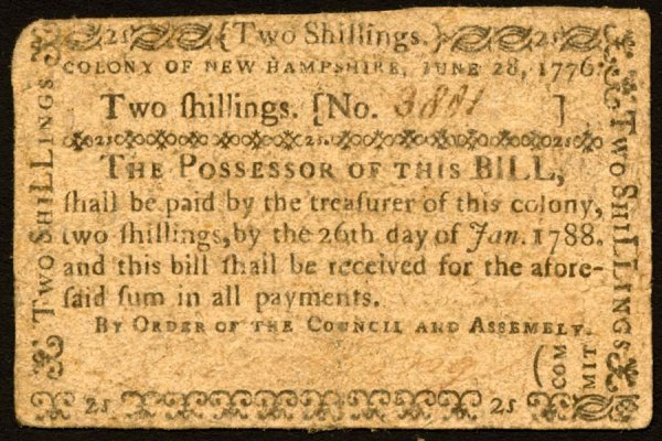 4022: New Hampshire , 2 Shillings    June 28, 1776