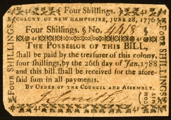 4023: New Hampshire , 4 Shillings    June 28, 1776