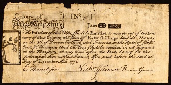 4024: New Hampshire , 40 Shillings    Dec. 20, 1776