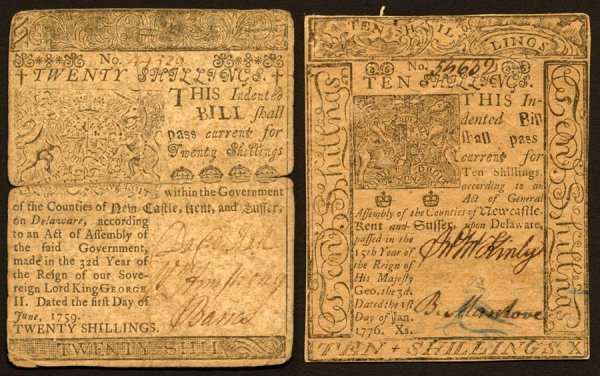 3: Delaware   10&20ShillingsJanuary1,1776