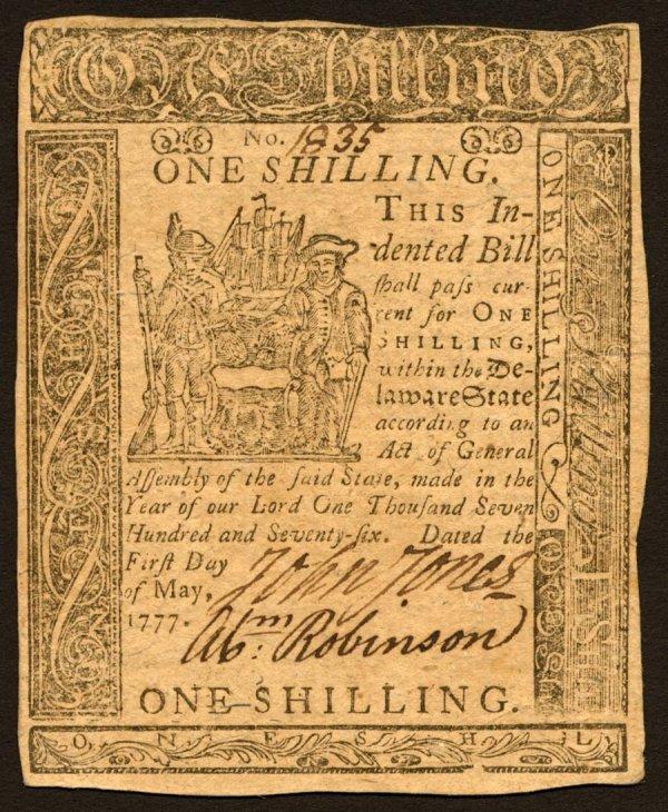 4: Delaware   1ShillingMay1,1777   Averyhigh