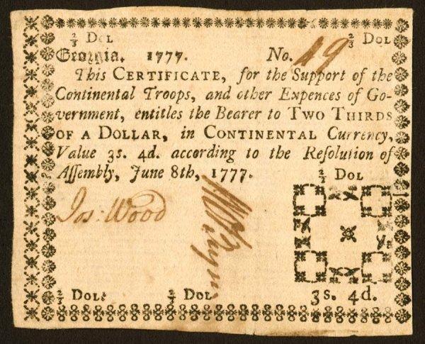 12: Georgia   $2/3June8,1777   Averyhigh-grad