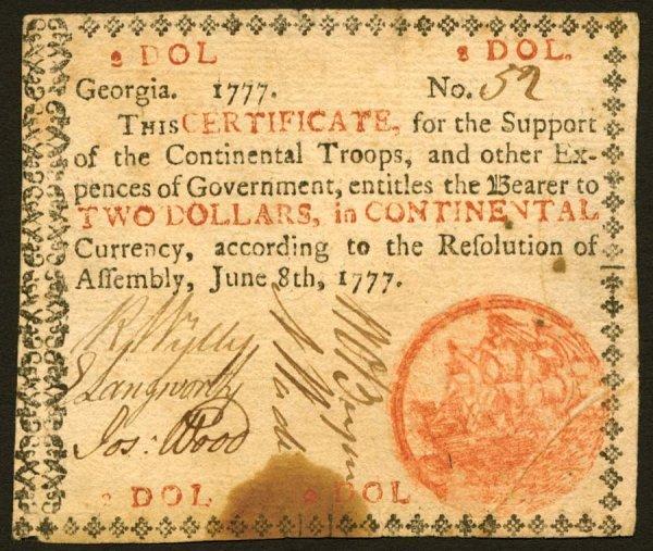13: Georgia   $2June8,1777   Averyattractive
