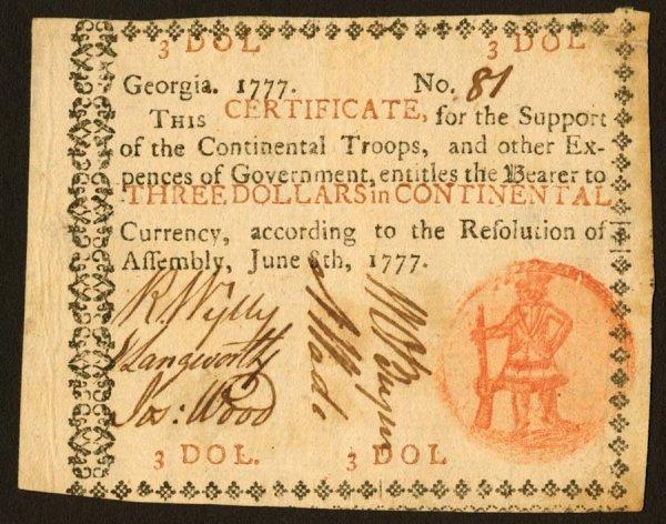 14: Georgia   $3June8,1777   Thisnoteisvery