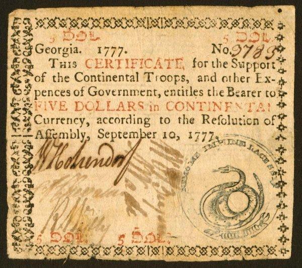 17: Georgia   $5September10,1777   Anicequali