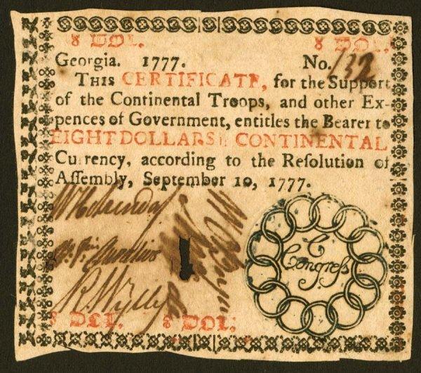 19: Georgia   $8September10,1777   Alovelynot