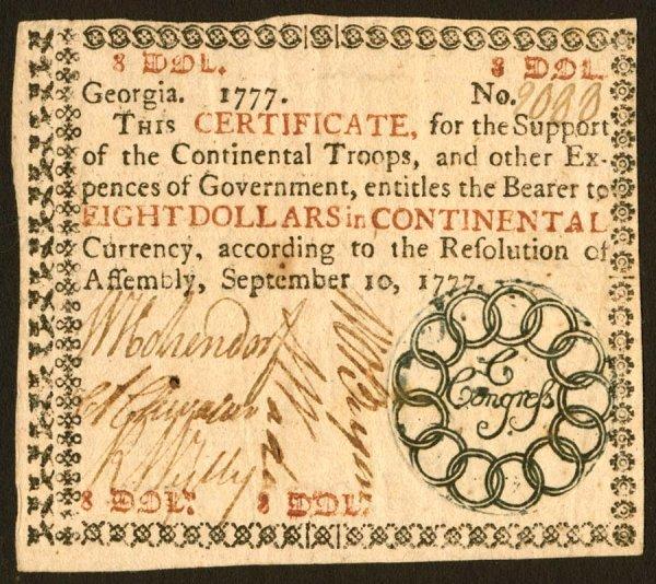 20: Georgia   $8September10,1777   Alovely,hi