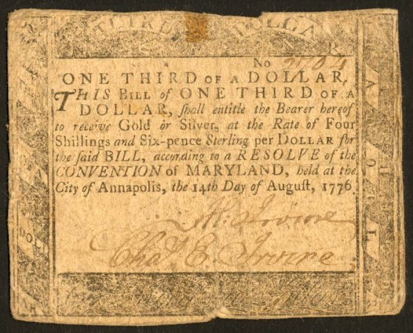 22: Maryland   MD-93$1/3August14,1776   Som