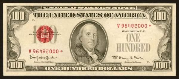 1382: Legal Tender�   $100����1966*����Invert�   When�I