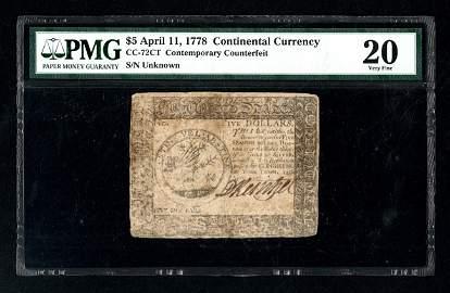 CC-72    $5    April 11, 1778    Contemporary
