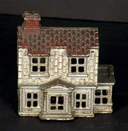 Cast Iron Still Bank, House w/ a Red Roof