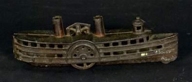 Cast Iron Still Bank, Steam Boat w/ free turning wheels
