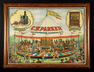 C.W. Parker Steam Engine Advertising Poster, Framed