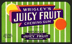 1935 Wrigley's Juicy Fruit Chewing Gum Box Fly for US