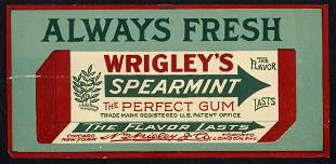 Early Wrigley's Spearmint Box Label w/ Adhesive Back