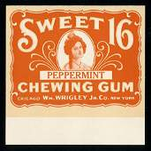 Wrigley's Sweet 16 Peppermint Chewing Gum Box Fly for