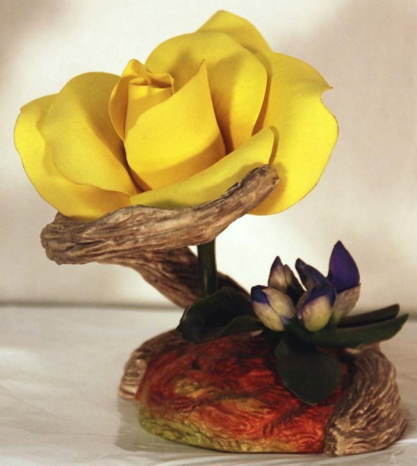 4: Boehm Bone Porcelain - Yellow Rose of Texas with Blu