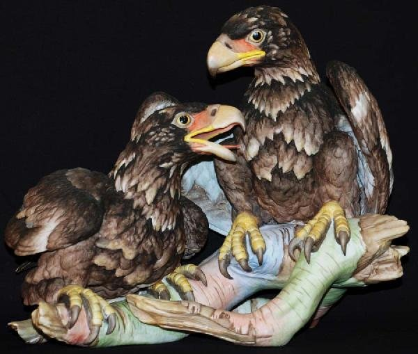 13: Pair of American Bald Eagles Porcelain Figure by Bo