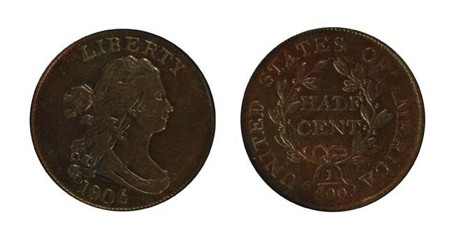 1806 1/2 Cent - Small 6, Stemless