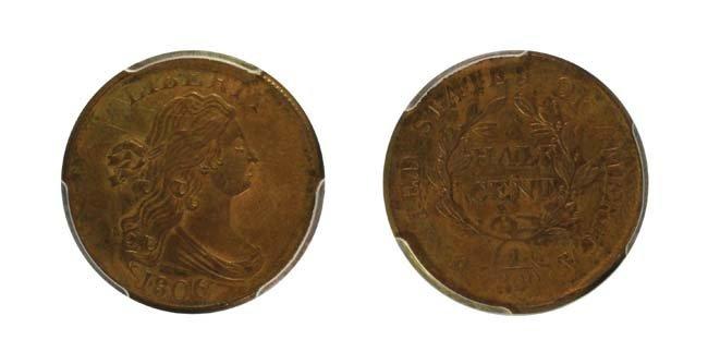 1806 1/2 Cent - Small 6, No Stems