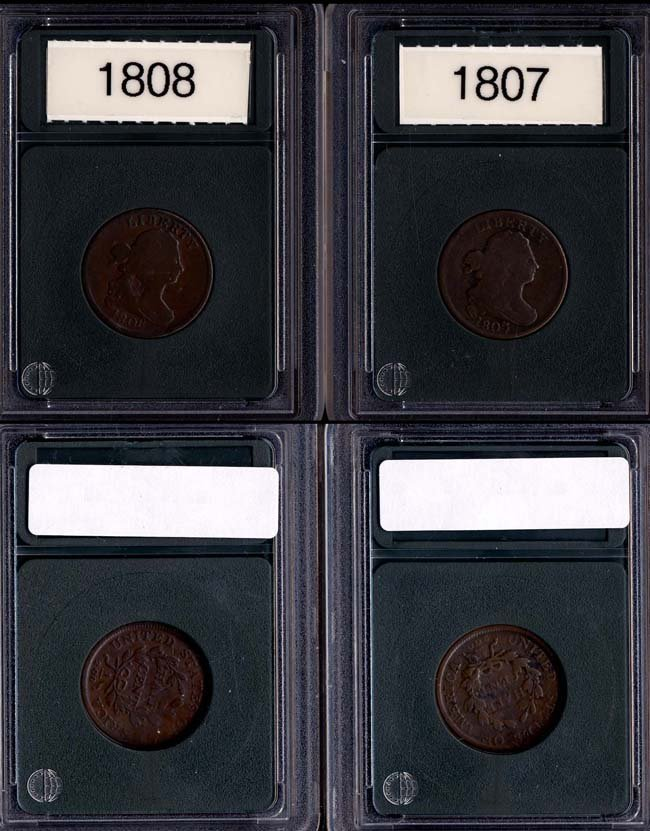1807, 1808 1/2 Cent - Two (2 coin lot)