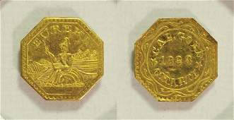 """1888 Arms of California/""""Cal. Gold Charm"""""""