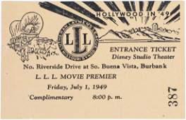 1949 Walt Disney Studios Theater Ticket