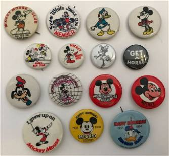 Vintage Collection of Disney & Disneyland Buttons