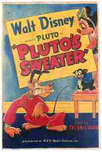 "Disney 1949 ""Pluto's Sweater"" Lobby Poster"