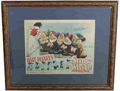 Disney Snow White Lobby Card Signed Marc Davis