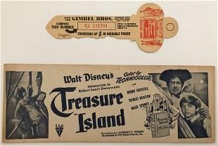 "Disney ""Treasure Island"" 1950 Promotional Key & Sign"