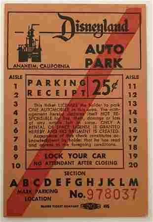 Disneyland Vintage First Series Auto Park Ticket