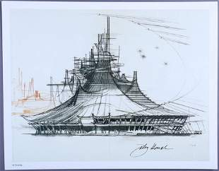 Space Mountain Concept Art Lithograph Signed John Hench