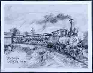 Disneyland Railroad Concept Art Lithograph Signed Sam