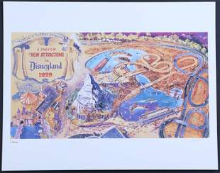 """Disneyland """"New Attractions of 1959"""" Lithograph"""