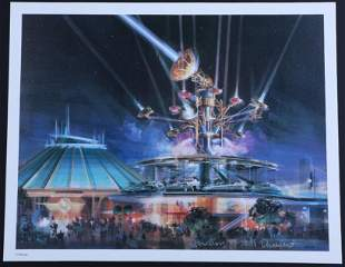 """Disney """"Futuristic Vehicles and Observatron"""" Lithograph"""