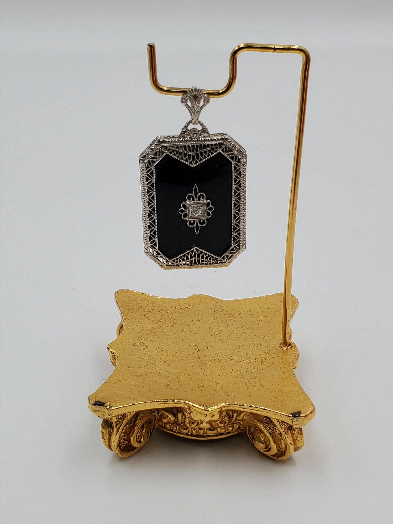 Vintage 10K Gold, Onyx, & Diamond Accented Pendant