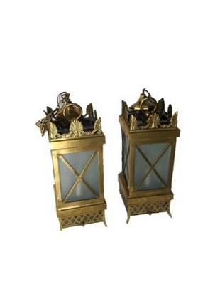 Pair of Carlos De La Puente Monumental Bronze Lanterns