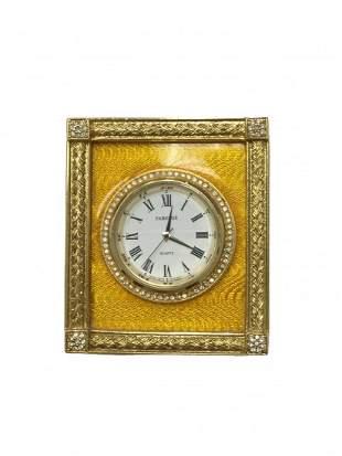 Contemporary Faberge Golden Enamel Clock