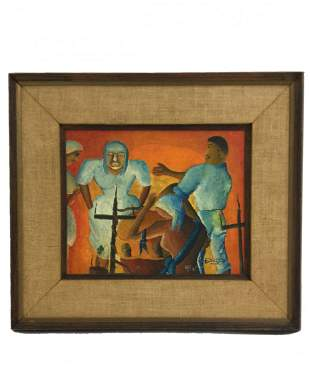 1950s Oil on Board depicting a Religious Cuban Ritual
