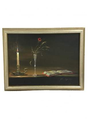 19th C. Small French Oil Painting On Canvas