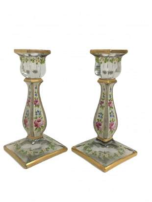 19th C. Hand Painted Crystal Candle Holders