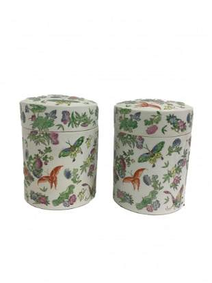 Two Chinese Porcelain Lidded Jars with Butterflies