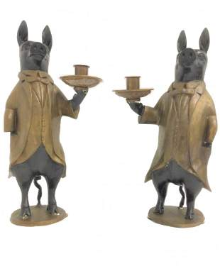 Pair of Maitland Smith Buttler Pig Candle Holders