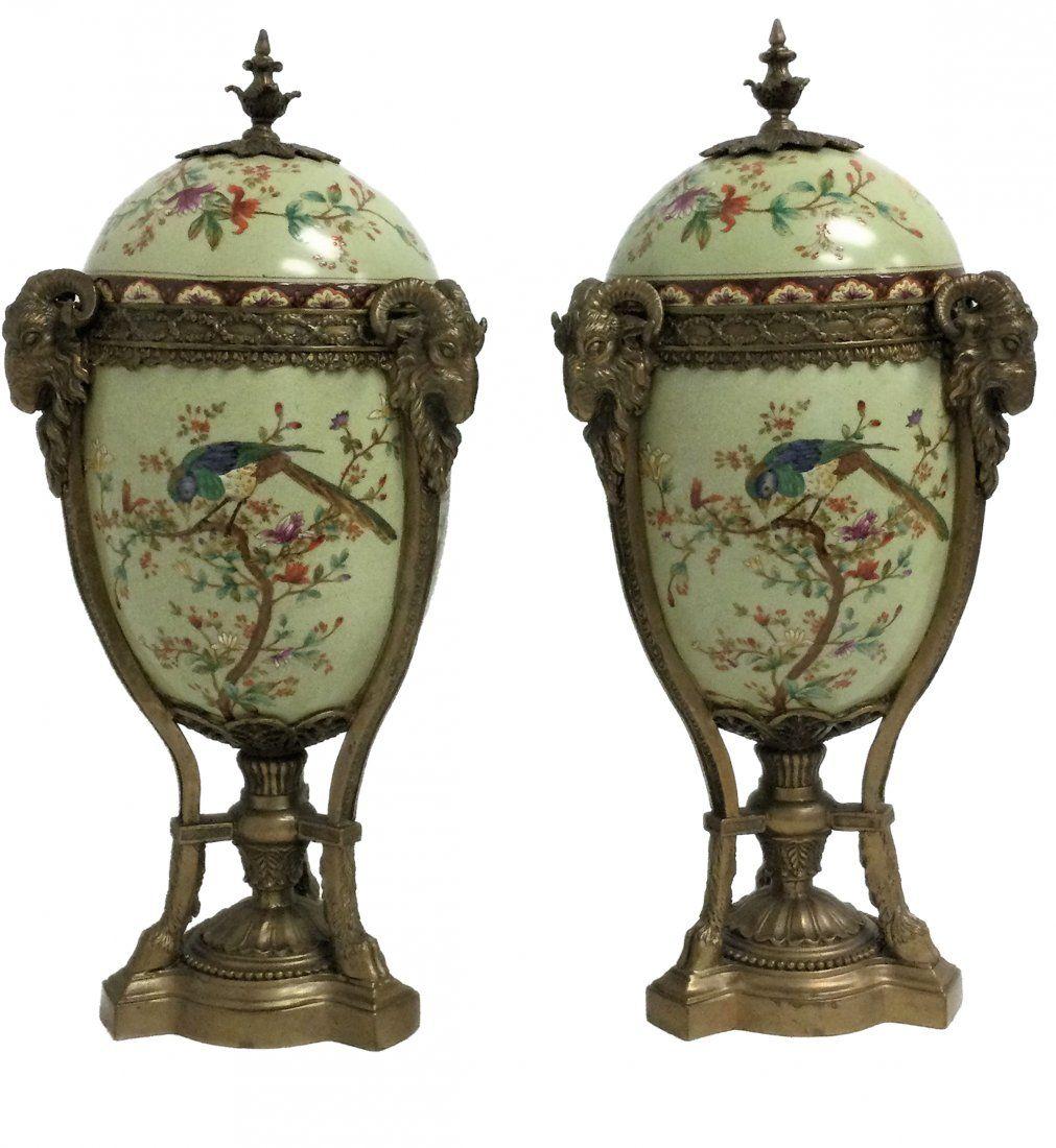 Pair of Porcelain Urns Bronze Fitted Rams & Hoof Feet